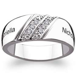 Sterling Silver Double Row Diamond Couple's Name Band