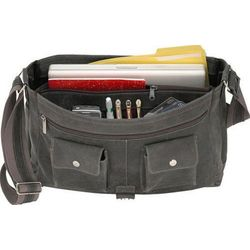 Distressed Leather Full Flap Grey Messenger Bag