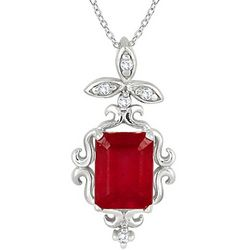 Sterling Emerald Cut Ruby and Diamond Estate Styled Pendant