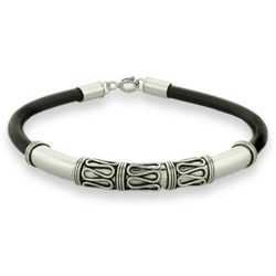 Sterling Silver Bali Bracelet with Black Cord