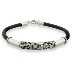Sterling Silver Bali Bracelet with Black Cord
