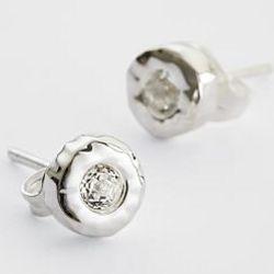 Artisan White Topaz and Sterling Stud Earrings