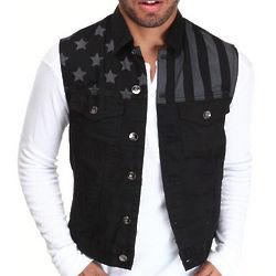 Men's Black Tonal Black Flag Denim Vest