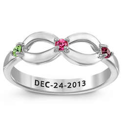 Sterling Silver Infinity Daughter Birthstone Ring