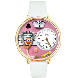 Nurse's Large Pink Watch in Gold