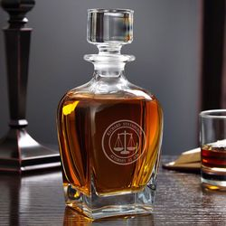 Scales of Justice Personalized Draper Whiskey Decanter