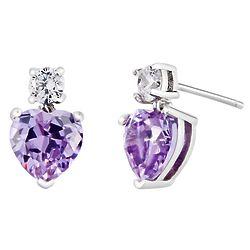 Heart Birthstone CZ Stud Dangle Earrings
