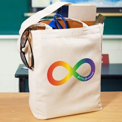 Rainbow Infinity Autism Canvas Tote Bag