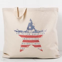 One Nation Under God Star Flag Canvas Tote