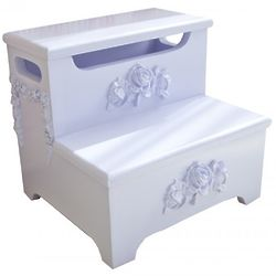 Bella Step Stool with Dimensional Rose Applique