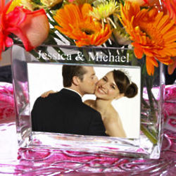 Rectangular Glass Photo Vase