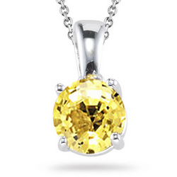 Yellow Sapphire Solitaire Pendant in 14K White Gold