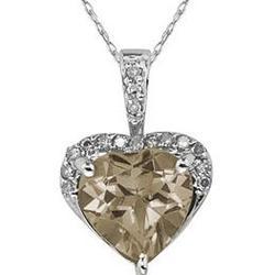Smokey Quartz and Diamond Heart Pendant in White Gold