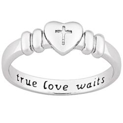 Platinum Plated Sterling Silver True Love Waits Purity Ring