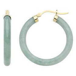14K Gold Jade Hoop Earrings