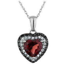 2.32 Carat Garnet Heart Pendant with White and Black Diamonds