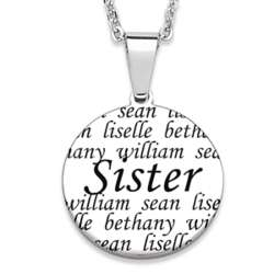 Stainless Steel Sister Engraved Names Necklace