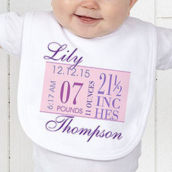 Girl's Birth Date Personalized Baby Bib