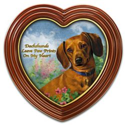 Dachshunds Leave Paw Prints On My Heart Framed Canvas Print