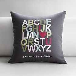 I Heart U Alphabet Personalized Gray Pillow Cover and Insert
