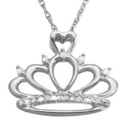 Girl's Sterling Diamond Accent Tiara Necklace