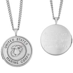 Engraved US Marines Military Locket Pendant