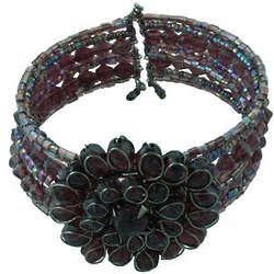 Seed Bead Flower Cuff Bracelet