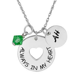 Sterling Silver Memorial Sentiment Birthstone Charm Necklace