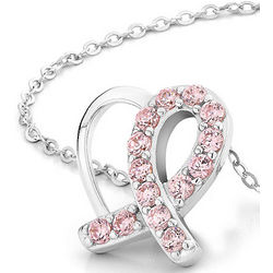 Pink Swarovski Crystal Solidarity Ribbon Heart Necklace