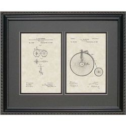 Framed 16x20 Early Bicycles Patent Art Print