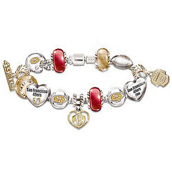 Go 49ers Number One Fan Charm Bracelet