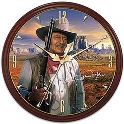 John Wayne Wall Clock with Mahogany-Finished Wood Frame