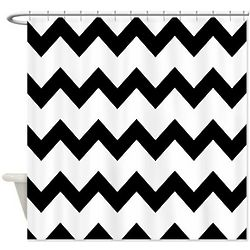Black and White Chevron Print Shower Curtain