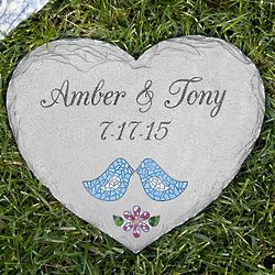Personalized Mosaic Lovebirds Stepping Stone