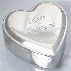 Personalized Silver Heart Jewelry Box