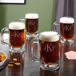 4 Benton Classic Monogram Beer Mugs