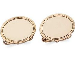 Engravable 14k Yellow Gold Oval Cuff Links