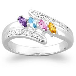 Sterling Silver Marquise Birthstone & Diamond Accent Mothers Ring