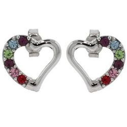 6 Stone Austrian Crystal Birthstone Heart Stud Earrings