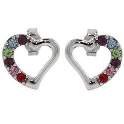 6 Stone Austrian Crystal Birthstone Heart Stud Earrings