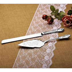 Personalized Our Hearts Silver Cake Knife and Server Set