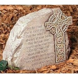 Celtic Cross Garden Stone with Blessing