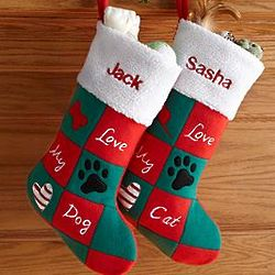 Personalized Love My Cat, Love My Dog Christmas Stocking