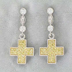 Two-Tone Cubic Zirconia Cross Dangle Earrings