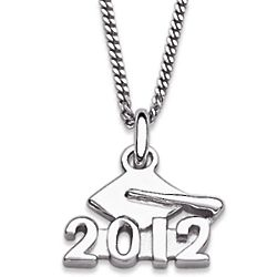 Rhodium Plated Sterling Silver 2012 Graduation Necklace
