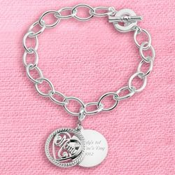 Mom Double Coin Charm Bracelet