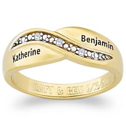 14K Gold Over Sterling Couple's Diamond Promise Name Ring