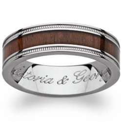 Men's Engraved Titanium and Wood Inlay Band