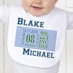 Boy's Personalized Birth Date Baby Bib