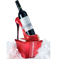 Pump It Up Red Wine and Chocolates Heel Gift Basket